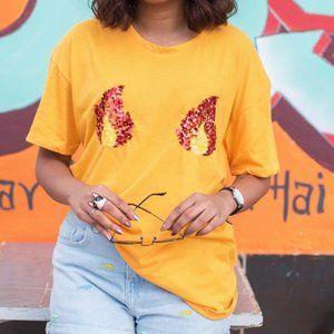 Zara Sequin Flame Fire Boobs Chest Tee Shirt Top